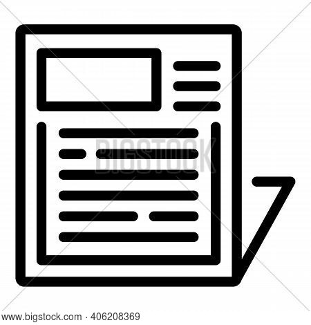 Information Newspaper Icon. Outline Information Newspaper Vector Icon For Web Design Isolated On Whi