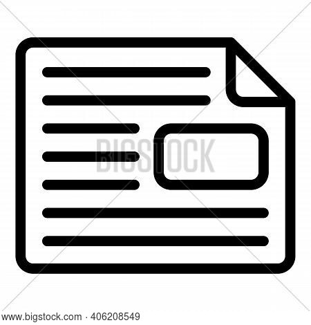 Journal Newspaper Icon. Outline Journal Newspaper Vector Icon For Web Design Isolated On White Backg