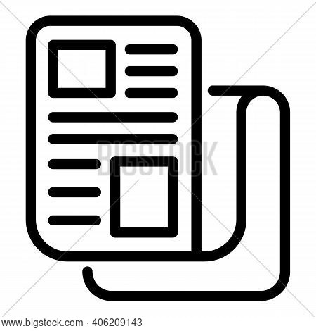 Tabloid Newspaper Icon. Outline Tabloid Newspaper Vector Icon For Web Design Isolated On White Backg