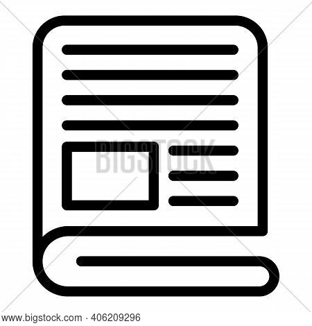 Bulletin Newspaper Icon. Outline Bulletin Newspaper Vector Icon For Web Design Isolated On White Bac
