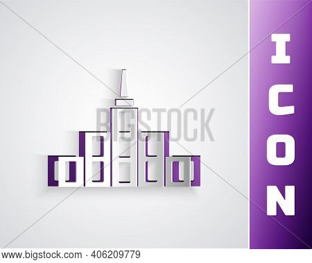 Paper Cut City Landscape Icon Isolated On Grey Background. Metropolis Architecture Panoramic Landsca