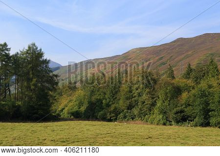 This Is An Autumn Valley Landscape In Scotland.
