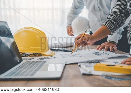 Engineer Working In Office With Blueprints, Inspection In Workplace For Architectural Plan, Construc