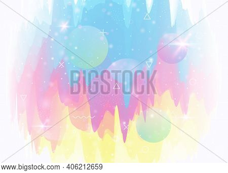 Cosmos Background With Abstract Holographic Landscape And Future Universe. 3d Fluid. Futuristic Grad
