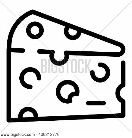 Dairy Cheese Icon. Outline Dairy Cheese Vector Icon For Web Design Isolated On White Background