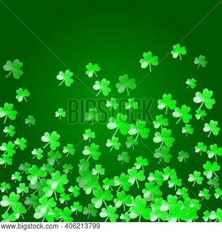 Shamrock Background For Saint Patricks Day. Lucky Trefoil Confetti. Glitter Frame Of Clover Leaves.