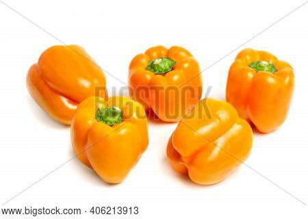Sweet Bulgarian Yellow Pepper On A White Background With A Shadow