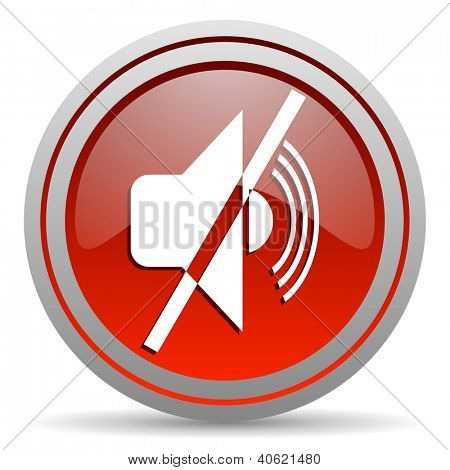 mute red glossy icon on white background