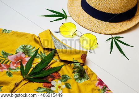 Yellow Sun Glasses, Hat, Marijuana Leaves, Yellow Shirt - Assembled In The Form Of A Portrait Of A M