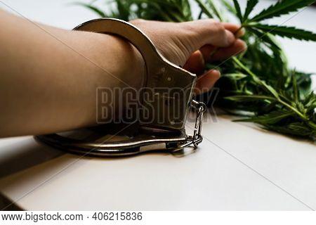 Marijuana Is Illegal. Hand In Handcuffs Against The Background Of Leaves Marijuana. Drug Dealer Unde