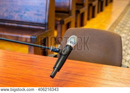 Closeup Of Microphone In The Courthouse. Justice System, Witness Testimony. Nobody
