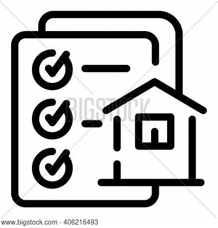 House Agent Papers Icon. Outline House Agent Papers Vector Icon For Web Design Isolated On White Bac