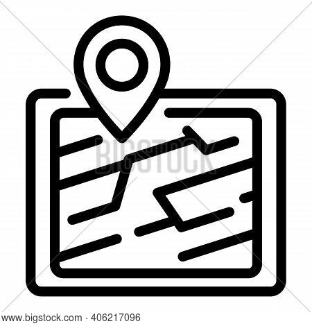 Tablet Gps Location Icon. Outline Tablet Gps Location Vector Icon For Web Design Isolated On White B