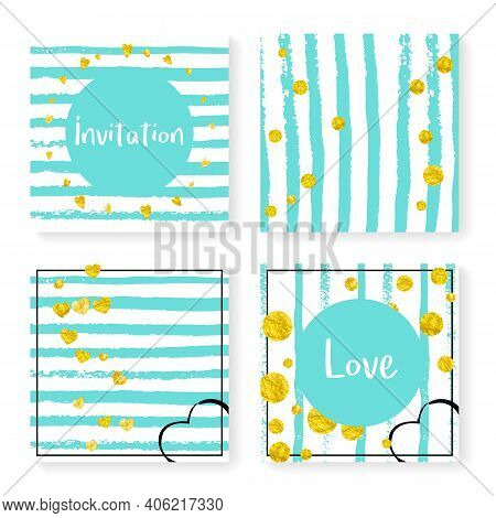 Polka Dot Background. Mint Nursery Particles. Stripe Abstract Card. Marriage Wallpaper. Glittery Des