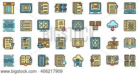 Electronic Catalogs Icons Set. Outline Set Of Electronic Catalogs Vector Icons Thin Line Color Flat