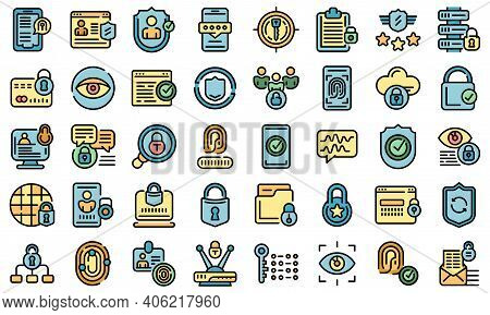 Privacy Icons Set. Outline Set Of Privacy Vector Icons Thin Line Color Flat On White