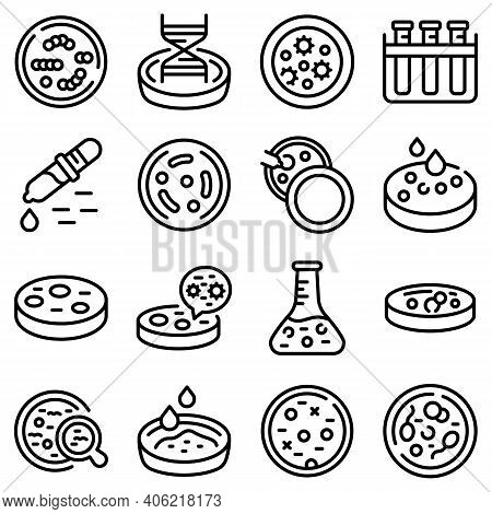Petri Dish Icons Set. Outline Set Of Petri Dish Vector Icons For Web Design Isolated On White Backgr