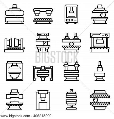 Press Form Machines Icons Set. Outline Set Of Press Form Machines Vector Icons For Web Design Isolat