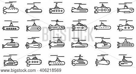 Submarine Icons Set. Outline Set Of Submarine Vector Icons For Web Design Isolated On White Backgrou