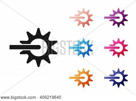 Black Cowboy Horse Riding Spur For Boot Icon Isolated On White Background. Set Icons Colorful. Vecto