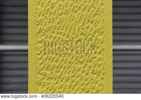 Nice Concrete Background Toned Yellow Against Closed Gray Shutters - Wall Surface Texture - Grunge B