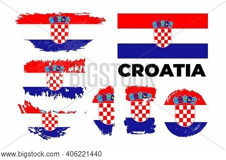 Flag Of Croatia Country. Happy Independence Day Of Croatia