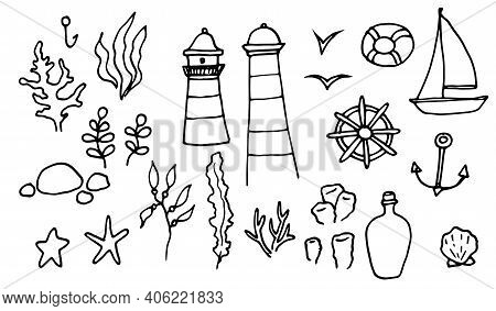 Sketch Lighthouse Algae Doodle Set. Vector Sketch Illustration.sketch Set. Vector Doodle Illustratio