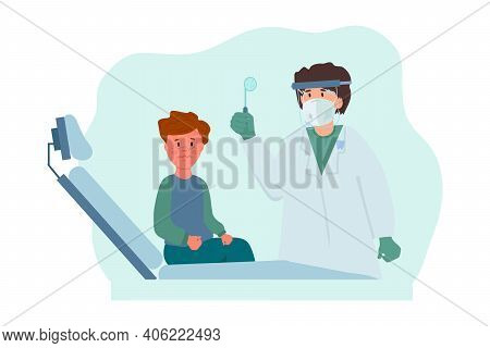 Children's Teeth Cleaning. The Child Is At The Dentist To Clean His Teeth And Mouth. The Dentist's O