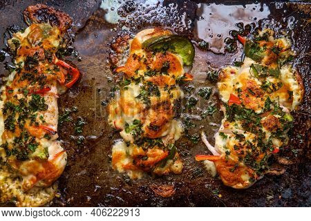Cooking Pan Stuffed Cajun Hasselback Chicken With Spicy Pepper Jack Cheese