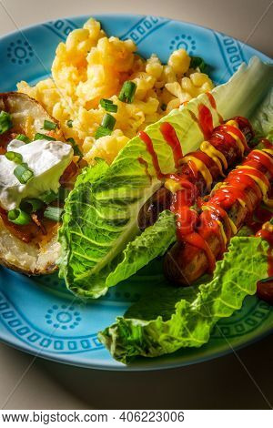Gluten-free Diet No-bun Hot Dog Lettuce Wraps Bbq Food With Mac And Cheese And Stuffed Potato Skin