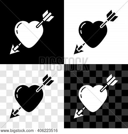 Set Amour Symbol With Heart And Arrow Icon Isolated On Black And White, Transparent Background. Love