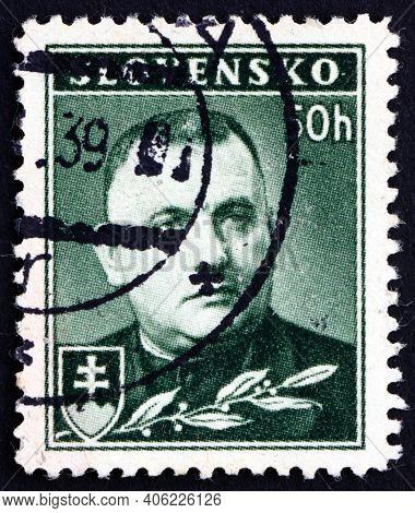 Slovakia - Circa 1939: A Stamp Printed In Slovakia Shows Dr. Josef Tiso, Slovak Politician Who Gover