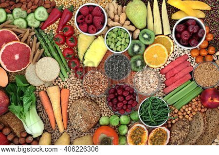 Clean eating high fibre health food for good digestive gut health with fruit, vegetables, nuts, grains, pasta, cereals and  legumes. Also high in antioxidants,  vitamins, lycopene omega 3 and protein.