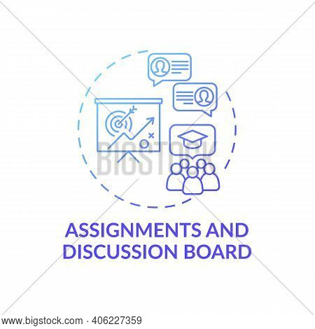 Assignments And Discussion Board Concept Icon. Online Course Management System Elements. Improving O