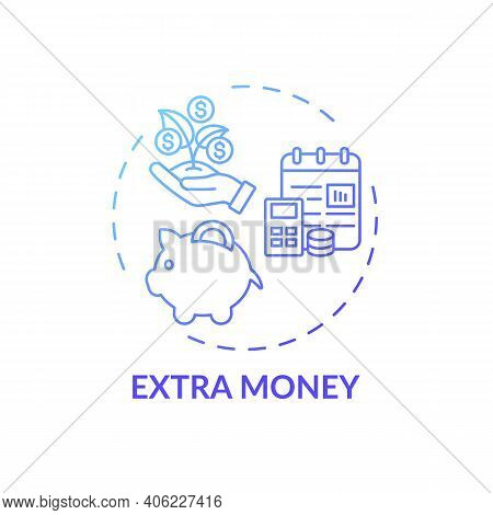 Extra Money Concept Icon. Online Tutoring Benefits. Get Additional Financial Resourses And Help For