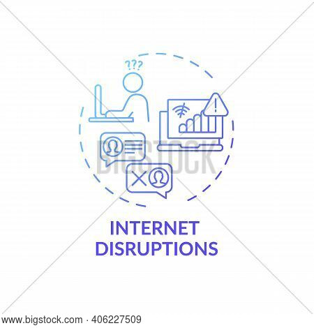Internet Disruptions Concept Icon. Online English Teaching Challenges. Different Things That Block K