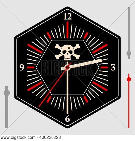 Hexagonal Watch Dial On A Black Background. Image Of The Jolly Roger On A Black Dial. Hour, Minute A