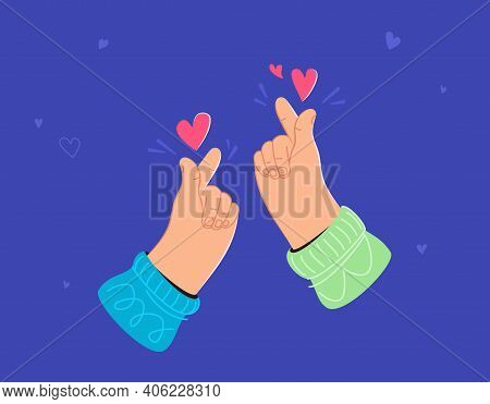 Two Human Hands Showing Korean Love Heart Sign By Fingers. Flat Vector Illustration For Valentines D