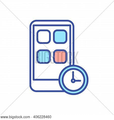 Mobile Phone App Block Timer Rgb Color Icon. Digital Detox From Smartphone. Wait To Use Cellphone Ap