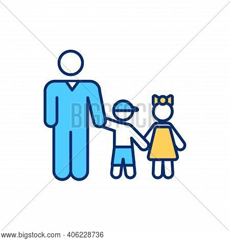 Single Father Rgb Color Icon. Dad With Children. Daddy Take Care Of Daughter And Son. Happy Family.