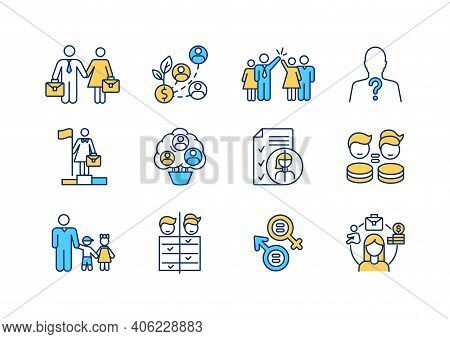 Gender Issues Rgb Color Icons Set. Woman And Man Equality. Female Employee Fair Treatment. Working W