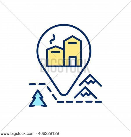 Mountain Chalet Rental Rgb Color Icon. Stay At Resort Cabin. Gps Marker For Hostel. Hotel Location.