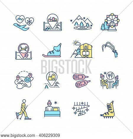 Winter Vacations Rgb Color Icons Set. Flight To Romantic Couple Resort. European Winter Village. Fro