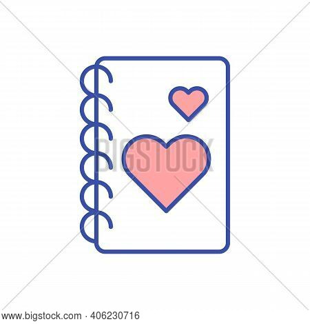 Gratitude Journal Rgb Color Icon. Diary For Positive Resolution. Write Personal Motivation. Psycholo