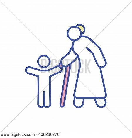 Grandmother With Child Rgb Color Icon. Grandparent Walking With Grandchild. Spend Time And Bond With