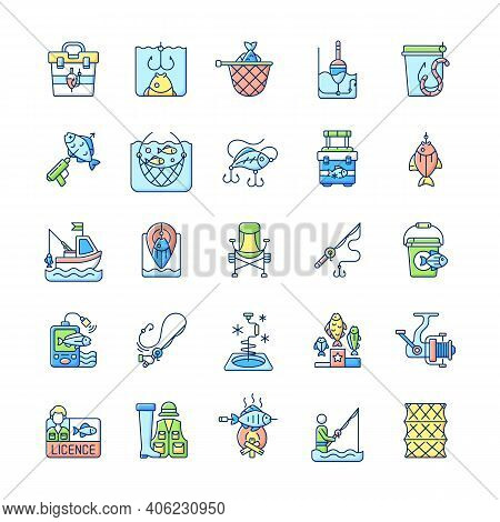 Fishing Equipment Rgb Color Icons Set. Fishing Lounger Chair. Cooking Freshly Caught Fish. Hobby And