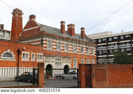 London Uk. Former Bath House Building In Bethnal Green District.
