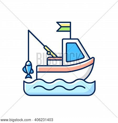 Boat Fishing Rgb Color Icon. Commercial Fishing. Hobby And Leisure Activity. Tool. Fresh Sea Food. L