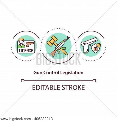 Gun Control Legislation Concept Icon. Compliance With Laws Possession And Carrying Of Weapons Idea T