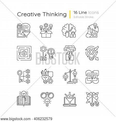 Creative Thinking Linear Icons Set. Idea Prioritization. Thinking Outside The Box. Analyzing Informa